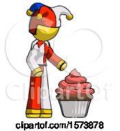 Yellow Jester Joker Man With Giant Cupcake Dessert