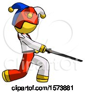 June 19th, 2018: Yellow Jester Joker Man With Ninja Sword Katana Slicing Or Striking Something by Leo Blanchette