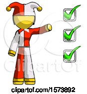 Yellow Jester Joker Man Standing By List Of Checkmarks
