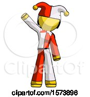 Yellow Jester Joker Man Waving Emphatically With Right Arm