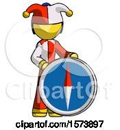 Yellow Jester Joker Man Standing Beside Large Compass