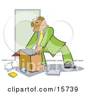 Businessman In Green Packing A Box With Paperwork