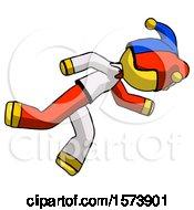 Yellow Jester Joker Man Running While Falling Down