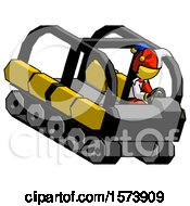 Yellow Jester Joker Man Driving Amphibious Tracked Vehicle Top Angle View