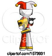 White Jester Joker Man Holding Large Drill