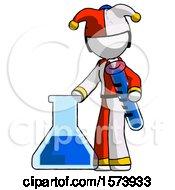 White Jester Joker Man Holding Test Tube Beside Beaker Or Flask