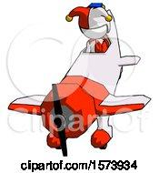White Jester Joker Man In Geebee Stunt Plane Descending Front Angle View