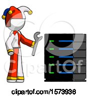 White Jester Joker Man Server Administrator Doing Repairs