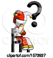 White Jester Joker Man Question Mark Concept Sitting On Chair Thinking