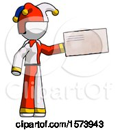 White Jester Joker Man Holding Large Envelope