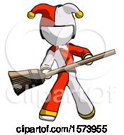 White Jester Joker Man Broom Fighter Defense Pose
