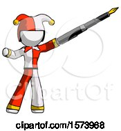 White Jester Joker Man Pen Is Mightier Than The Sword Calligraphy Pose