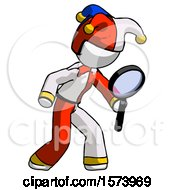 White Jester Joker Man Inspecting With Large Magnifying Glass Right