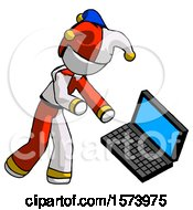 White Jester Joker Man Throwing Laptop Computer In Frustration