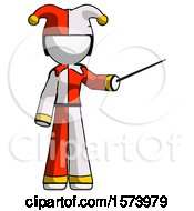 Poster, Art Print Of White Jester Joker Man Teacher Or Conductor With Stick Or Baton Directing