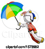White Jester Joker Man Flying With Rainbow Colored Umbrella