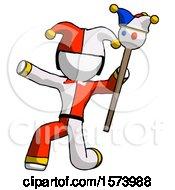 White Jester Joker Man Holding Jester Staff Posing Charismatically