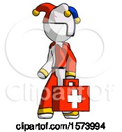 White Jester Joker Man Walking With Medical Aid Briefcase To Left