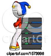 White Jester Joker Man Resting Against Server Rack