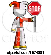 White Jester Joker Man Holding Stop Sign