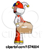 White Jester Joker Man Holding Package To Send Or Recieve In Mail