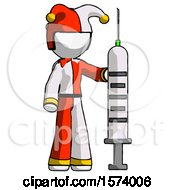 White Jester Joker Man Holding Large Syringe