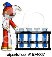 White Jester Joker Man Using Test Tubes Or Vials On Rack