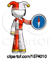 White Jester Joker Man Holding A Large Compass