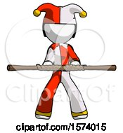 White Jester Joker Man Bo Staff Kung Fu Defense Pose