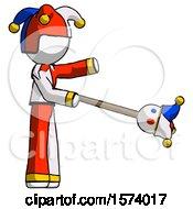 White Jester Joker Man Holding Jesterstaff I Dub Thee Foolish Concept