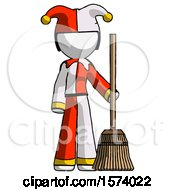 White Jester Joker Man Standing With Broom Cleaning Services