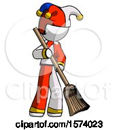 White Jester Joker Man Sweeping Area With Broom