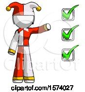 White Jester Joker Man Standing By List Of Checkmarks