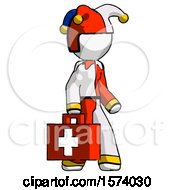 White Jester Joker Man Walking With Medical Aid Briefcase To Right