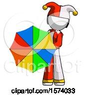 White Jester Joker Man Holding Rainbow Umbrella Out To Viewer