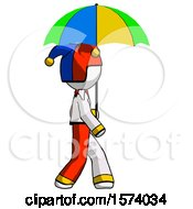 White Jester Joker Man Walking With Colored Umbrella