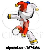 White Jester Joker Man Action Hero Jump Pose