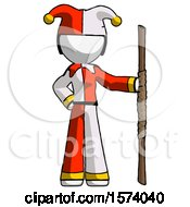 White Jester Joker Man Holding Staff Or Bo Staff