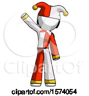 White Jester Joker Man Waving Emphatically With Right Arm