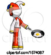 White Jester Joker Man Frying Egg In Pan Or Wok Facing Right