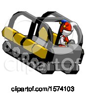 White Jester Joker Man Driving Amphibious Tracked Vehicle Top Angle View