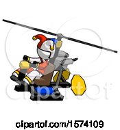White Jester Joker Man Flying In Gyrocopter Front Side Angle Top View