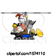 White Jester Joker Man Flying In Gyrocopter Front Side Angle View