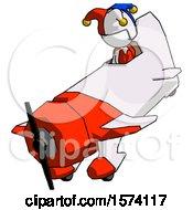 White Jester Joker Man In Geebee Stunt Plane Descending View