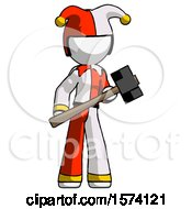 White Jester Joker Man With Sledgehammer Standing Ready To Work Or Defend