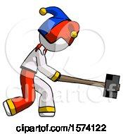 White Jester Joker Man Hitting With Sledgehammer Or Smashing Something