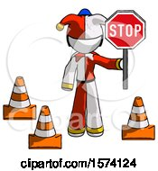 White Jester Joker Man Holding Stop Sign By Traffic Cones Under Construction Concept
