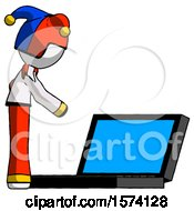 White Jester Joker Man Using Large Laptop Computer Side Orthographic View