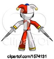 White Jester Joker Man Two Sword Defense Pose