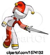 White Jester Joker Man Sword Pose Stabbing Or Jabbing